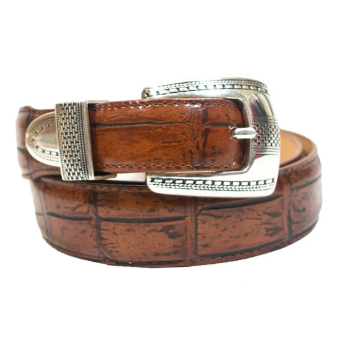 12506 Men's Brighton Cognac Gator Print Leather Belt
